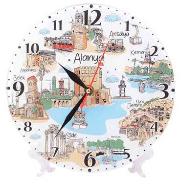 Alanya Temalı Dekorlu Cam Saat 25 cm - Thumbnail