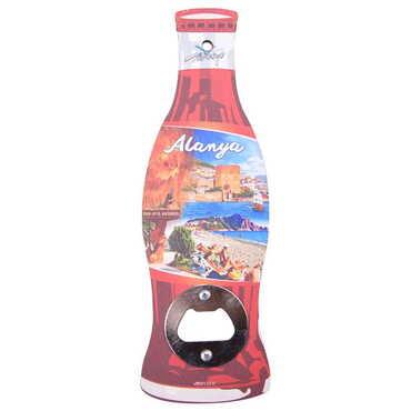 Alanya Temalı Myros Ahşap Cola Şişesi Açacak Magnet 200x66 mm - Thumbnail