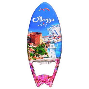 Alanya Temalı Myros Metal Sörf Açacak Magnet 128x45 mm - Thumbnail