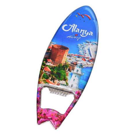 Alanya Temalı Myros Metal Sörf Açacak Magnet 128x45 mm