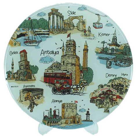 Antalya Bölgesi Temalı Cam Tabak 18 cm