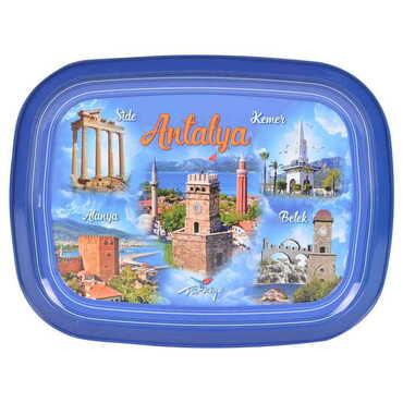 Antalya Bölgesi Temalı Myros Metal Resimli Tepsi 305x235 mm - Thumbnail