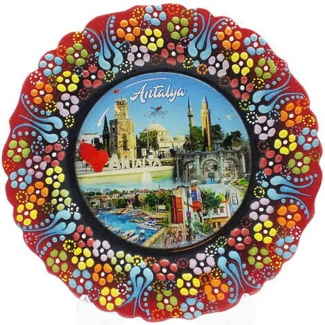 Antalya Temalı Çini Myros Resim Tabak 18 cm