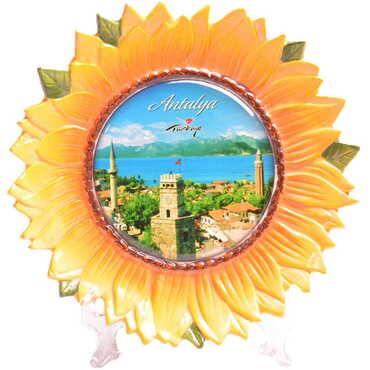 Antalya Temalı Myros Ayçiçeği Seramik Tabak 15 cm - Thumbnail