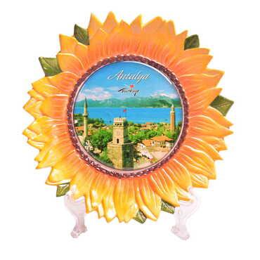 Antalya Temalı Myros Ayçiçeği Seramik Tabak 20 cm - Thumbnail