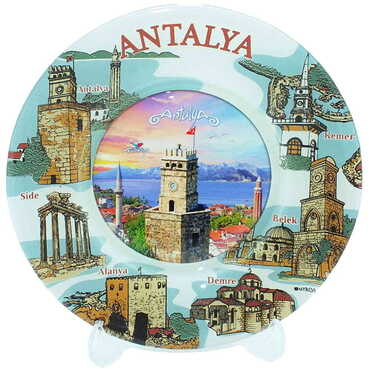 Antalya Temalı Myros Cam Tabak 18 cm - Thumbnail