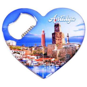 Antalya Temalı Myros Metal Kalp Açacak Magnet 85x76 mm - Thumbnail