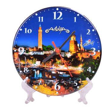 Antalya Temalı Myros Yuvarlak Saat 17 cm - Thumbnail