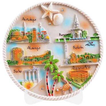 Antalya Temalı Seramik Yöresel Taşlı Tabak 20 cm - Thumbnail