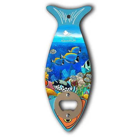 Aquapark Temalı Ahşap Balık Açacak Magnet 190x70 mm