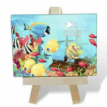 Aquapark Temalı Kanvas Şövale Tablo 70x100 mm - Thumbnail