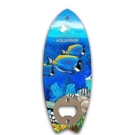 Aquapark Temalı Myros Ahşap Sörf Tahtası Açacak Magnet 185x72 mm