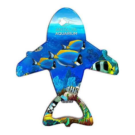 Aquapark Temalı Myros Metal Uçak Açacak Magnet 105x89 mm