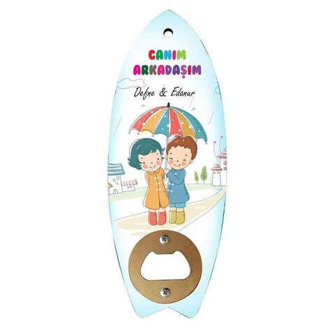 Arkadaşa Özel Myros Ahşap Sörf Tahtası Açacak Magnet 185x72 mm