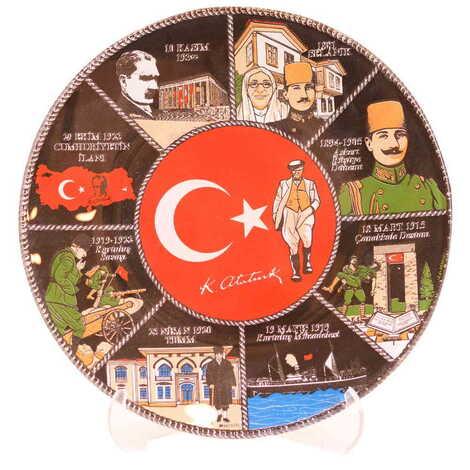 Atatürk Temalı Cam Tabak 18 cm