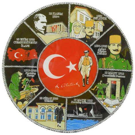 Atatürk Temalı Cam Tabak 21 cm