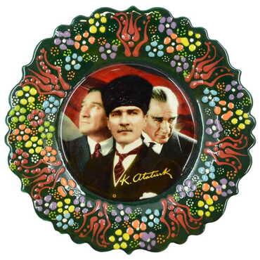 Atatürk Temalı Çini Myros Resim Tabak 18 cm - Thumbnail