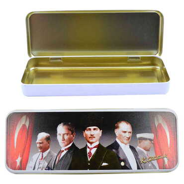 Atatürk Temalı Myros Metal Kalem Kutusu 210x80x25 mm - Thumbnail