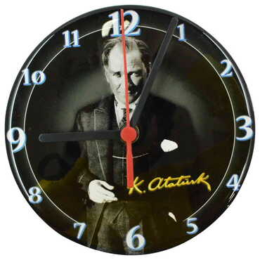 Atatürk Temalı Myros Yuvarlak Saat 17 cm - Thumbnail