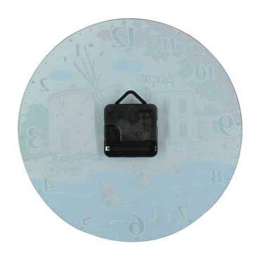 Belek Temalı Dekorlu Cam Saat 25 cm - Thumbnail