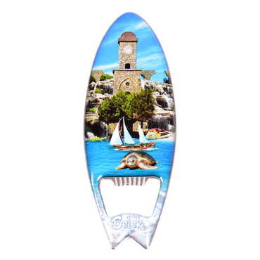 Belek Temalı Myros Metal Sörf Açacak Magnet 128x45 mm - Thumbnail