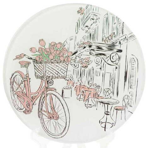 Bisiklet Temalı Cam Tabak 21 cm