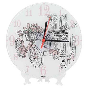 Bisiklet Temalı Dekorlu Cam Saat 25 cm - Thumbnail