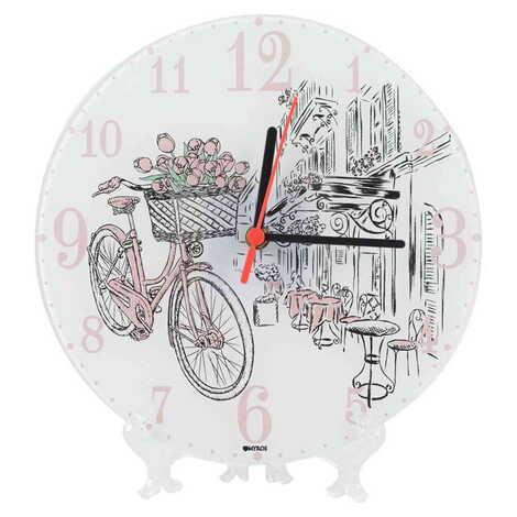 Bisiklet Temalı Dekorlu Cam Saat 25 cm