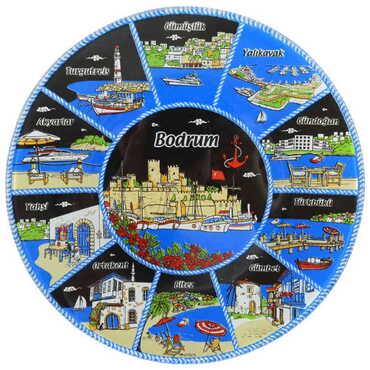 Bodrum Bölgesi Temalı Cam Tabak 18 cm - Thumbnail