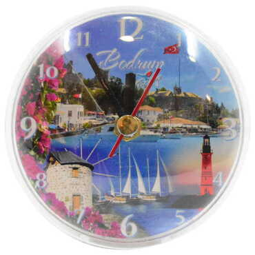 Bodrum Temalı Myros Plastik Saat Magnet - Thumbnail
