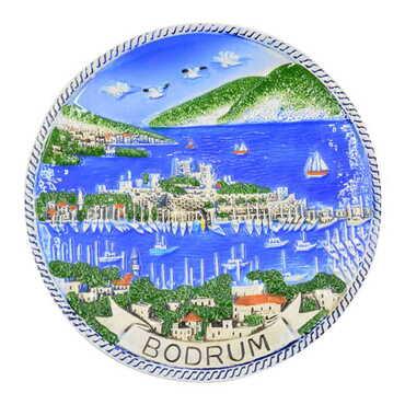 Seramik Mavi Bodrum Tabak 15 cm - Thumbnail