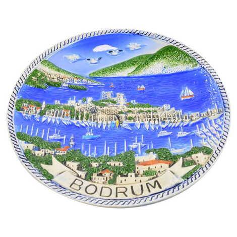 Bodrum Temalı Seramik Mavi Bodrum Tabak 20 cm