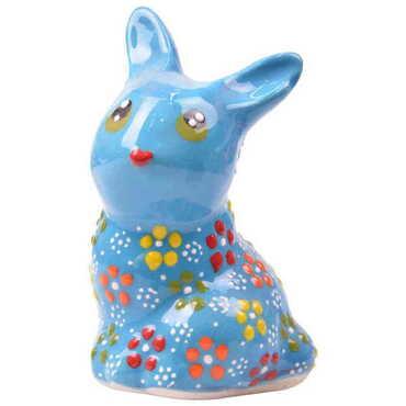 Çini Büyük Tavşan Kabartma Biblo - Thumbnail