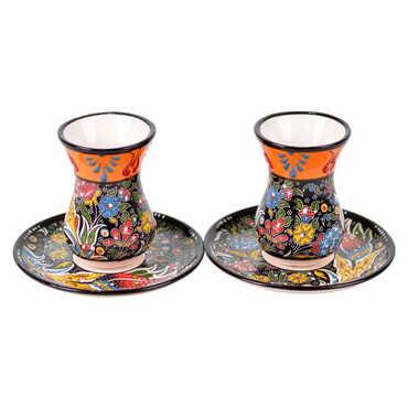 Çini İkili Özel Kabartma Çay Seti - Thumbnail