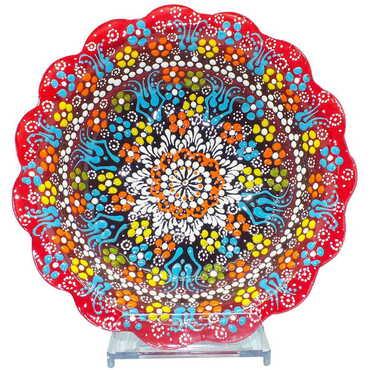 Çini Kabartma Papatya Kase 20 cm - Thumbnail