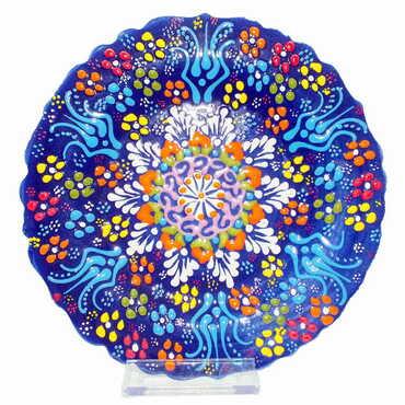 Çini Kabartma Tabak 18 cm - Thumbnail
