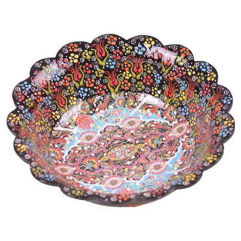 Çini Kazıma Kabartma Papatya Kase 30 cm