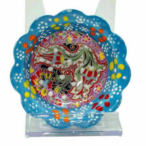 Çini Kazıma Kabartma Papatya Kase 8 cm