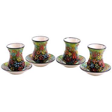 Çini Myros Dörtlü Çay Seti - Thumbnail