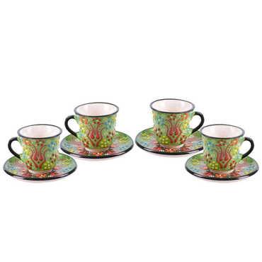 Çini Myros Dörtlü Kahve Seti - Thumbnail