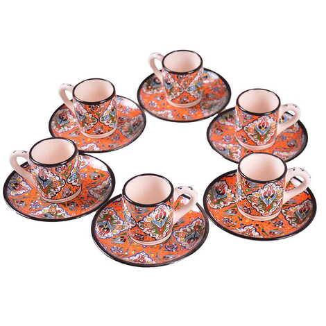 Çini Özel Kabartma Altılı Kahve Seti