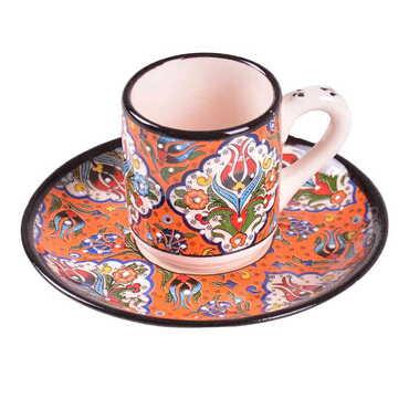 Çini Özel Kabartma Altılı Kahve Seti - Thumbnail