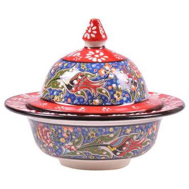 Çini Özel Kabartma Şekerlik 13 cm - Thumbnail