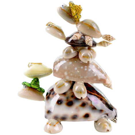 Deniz Kabuğu Şapkalı Kaplumbağa Aile Dörtlü Biblo
