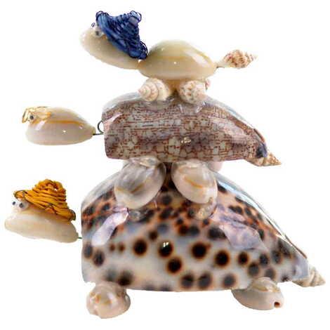 Deniz Kabuğu Şapkalı Kaplumbağa Aile Üçlü Biblo