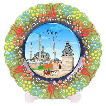 Edirne Temalı Çini Myros Resim Tabak 12 cm - Thumbnail