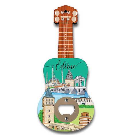 Edirne Temalı Myros Ahşap Gitar Açacak Magnet 200x89 mm