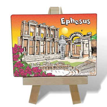 Efes Temalı Kanvas Şövale Tablo 70x100 mm - Thumbnail