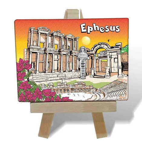 Efes Temalı Kanvas Şövale Tablo 70x100 mm