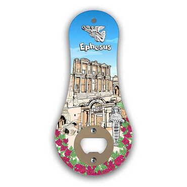 Efes Temalı Myros Ahşap Klasik Açacak Magnet 170x79 mm - Thumbnail